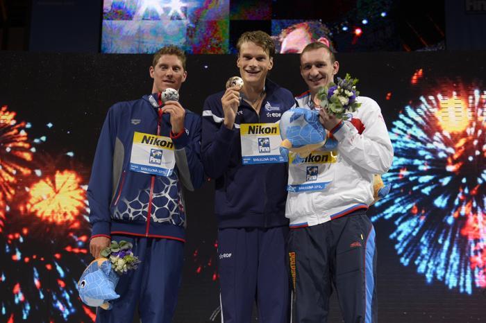 Данила Изотов взял бронзу в плавании кролем на дистанции 200 метров в 11 день Чемпионата мира по водным видам спорта в испанской Барселоне 30 июля 2013 года. Фото: FABRICE COFFRINI/AFP/Getty Images
