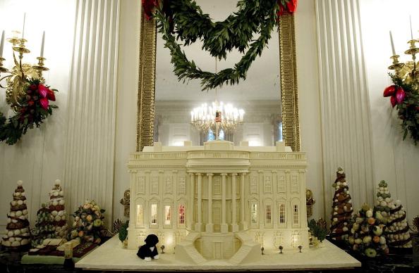 Рождественская елка, огни и украшения в Белом доме в Вашингтоне. Одно из рождественских украшений – Белый дом – пряничный дом, украшает столовую. Фото: Chip Somodevilla/Getty Images