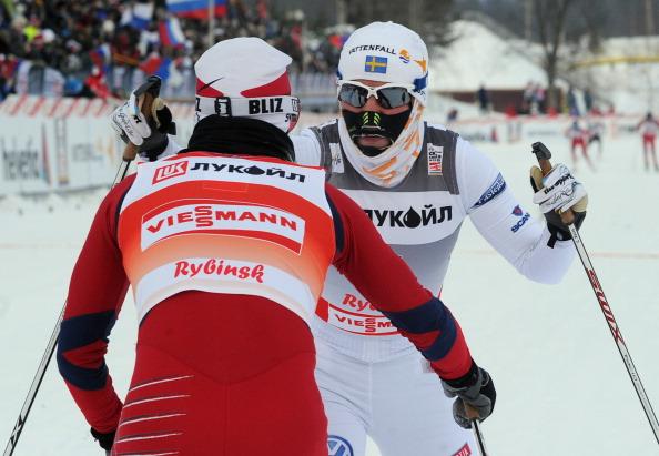 Золотую медаль завоевала норвежка  Марит Бьерген (Marit Bjoergen). Фоторепортаж с соревнований лыжников в масс-старте  Кубка мира в Рыбинске. Фото: NATALIA KOLESNIKOVA/AFP/Getty Images