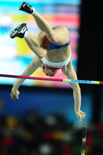 Елена Исинбаева, российская прыгунья с шестом, стала чемпионкой мира. Фоторепортаж. Фото: JUNG YEON-JE/AFP/Getty Images