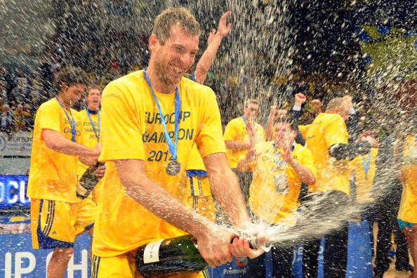 «Химки» празднуют победу над  «Валенсией» в Кубке Европы. Фоторепортаж. Фото: KIRILL KUDRYAVTSEV/AFP/Getty Images