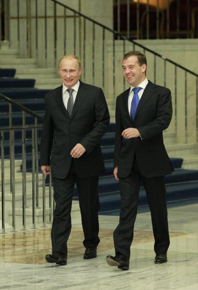 Дмитрий Медведев провел встречу со своими соратниками по партии «Единая Россия». Фото: SERGEI KARPUKHIN/AFP/Getty Images