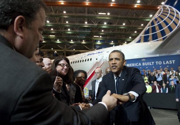 Барак Обама посетил центр Boeing 787 Dreamliner.  Фоторепортаж. Фото: SAUL LOEB/AFP/Getty Images