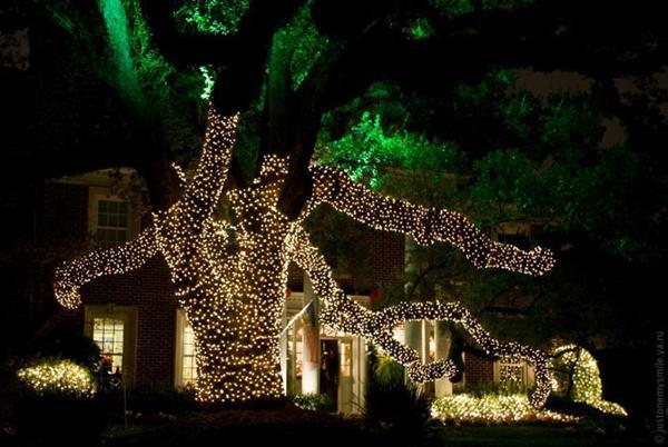 Сказочный мир из гирлянд  огней на Рождество и Новый год. Фото с сайта fresher.ru