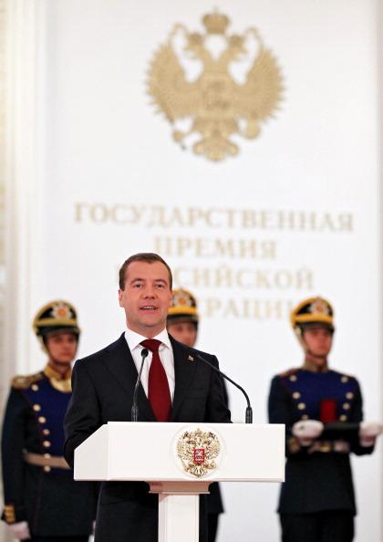 Дмитрий Медведев и Владимир Путин в День России. Фоторепортаж из Кремля. Фото: DMITRY ASTAKHOV/AFP/Getty Images