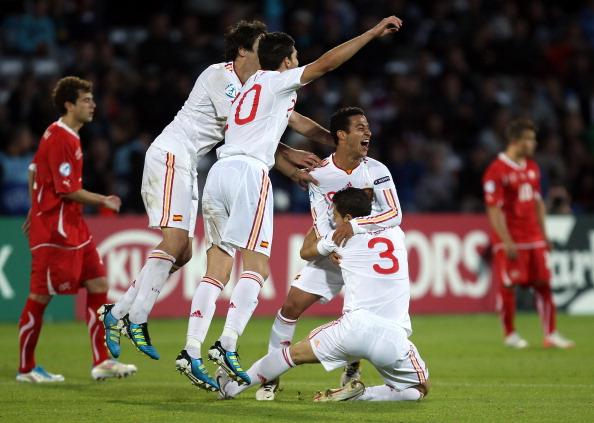 Фоторепортаж с футбольного матча молодежных сборных Испании и Швейцарии.  Фото:  Ian Walton/Getty Images