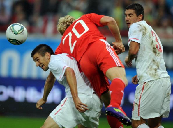 Сборная России по футболу выиграла у сборной Сербии со счетом 1:0. Фоторепортаж с матча. Фото: DMITRY KOSTYUKOV/AFP/Getty Images