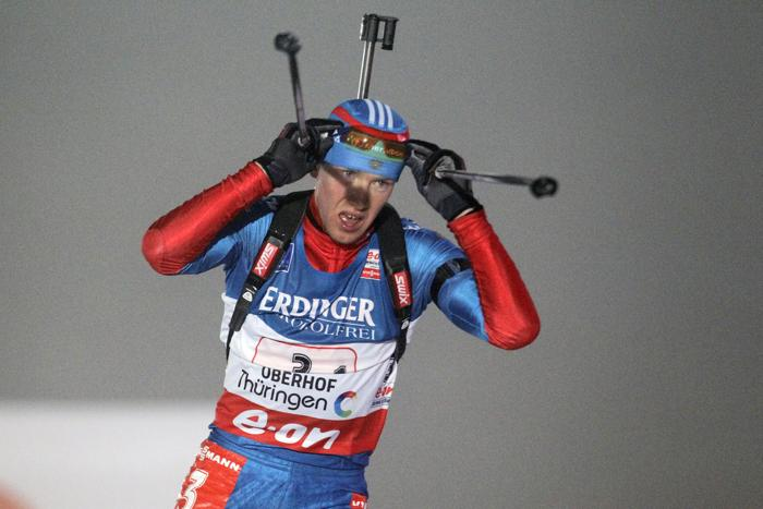 Алексей Волков проходит этап эстафеты по биатлону в Оберхофе, 4 января. Фото: Christophe Pallot / Agence Zoom / Getty Images