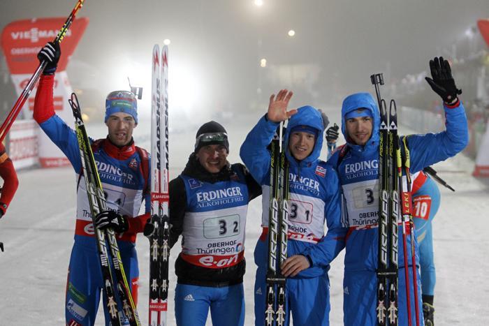 Мужская сборная России по биатлону выиграла эстафету в Оберхофе, 4 января. Фото: Christophe Pallot / Agence Zoom / Getty Images