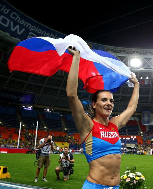 Елена Исимбаева стала трёхкратной чемпионкой, выиграв золото ЧМ в Москве. Фото: Paul Gilham/Getty Images