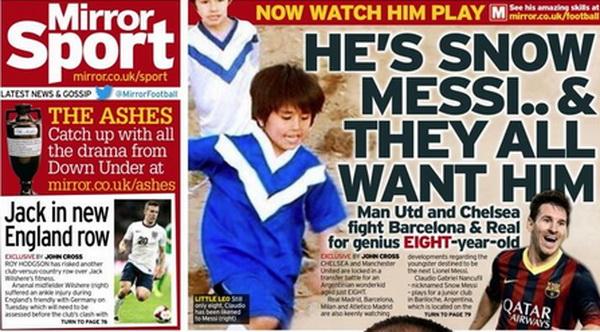 Первая страница Mirror Sport о Клаудио Нанкафил. Фото: 101greatgoals.com