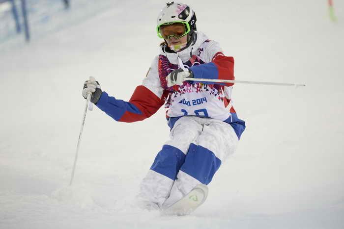 В квалификации по могулу у Екатерины Столяровой лучший результат, она может претендовать на первое место. Фото: FRANCK FIFE/AFP/Getty Images