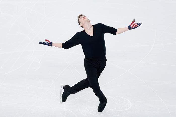 Джереми Эбботт из США провёл 3 февраля первые тренировки в Сочи перед выступлением на зимних Олимпийских играх 2014. Фото: Matthew Stockman/Getty Images