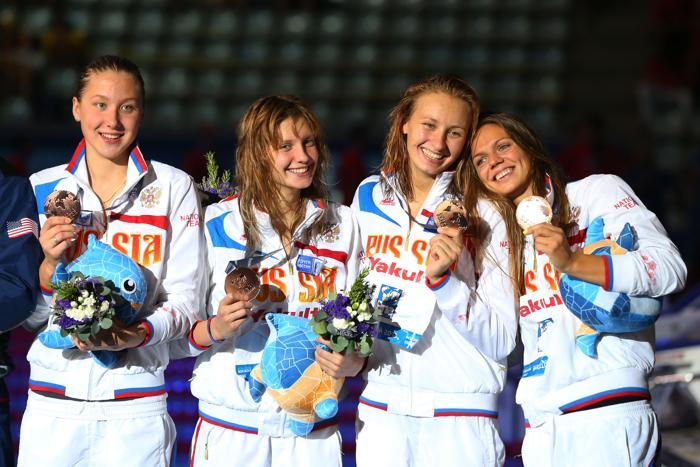 Российская сборная выиграла бронзу на Чемпионате мира по водным видам спорта 4 августа 2013 года в Барселоне (Испания). Фото: Quinn Rooney/Getty Images