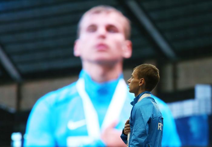 Александр Иванов 10 августа 2013 года принёс для России первое золото Чемпионата мира по лёгкой атлетике. Фото: ALEXANDER NEMENOV/AFP/Getty Images
