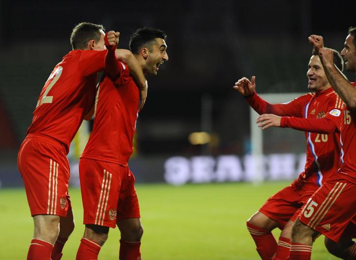 Россияне провели 11 октября 2013 года разгромный матч с футбольной сборной Люксембурга в рамках отборочного тура Чемпионата мира 2014. Фото: JEAN-CHRISTOPHE VERHAEGEN/AFP/Getty Images