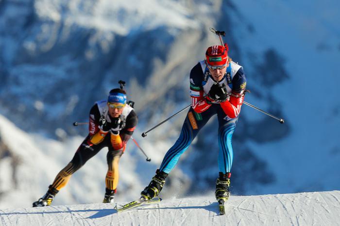 Иван Черезов стартовал в мужской эстафете 13 декабря 2013 года на Кубке мира по биатлону. Фото: Stanko Gruden/Agence Zoom/Getty Images