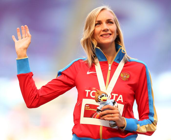На московском стадионе «Лужники» 18 августа 2013 года прошла церемония награждения победителей чемпионата мира по прыжкам в высоту среди женщин. Фото: Cameron Spencer/Getty Images
