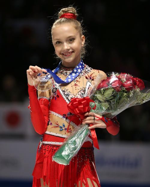 Елена Родионова после двух программ заняла третье место первыми на Гран-при по фигурному катанию Skate America в Детройте 20 октября 2013 года. Фото: Dave Reginek / Getty Images
