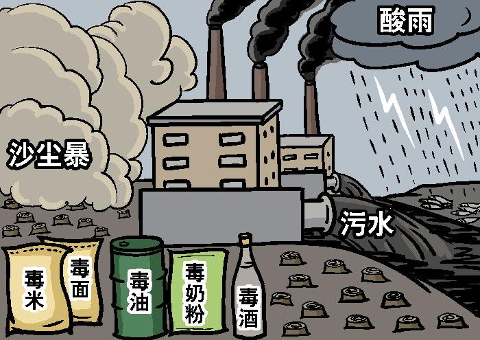Поддельные продукты, ядовитая пища, песчаные бури, загрязнение сточными водами и кислотные дожди. Иллюстрация: Великая Эпоха (The Epoch Times)
