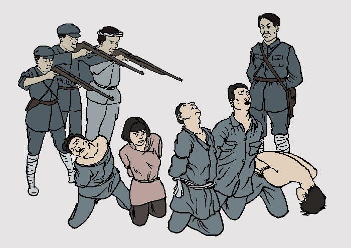 Убийство инакомыслящих в советском районе. Иллюстрация: Великая Эпоха (The Epoch Times)