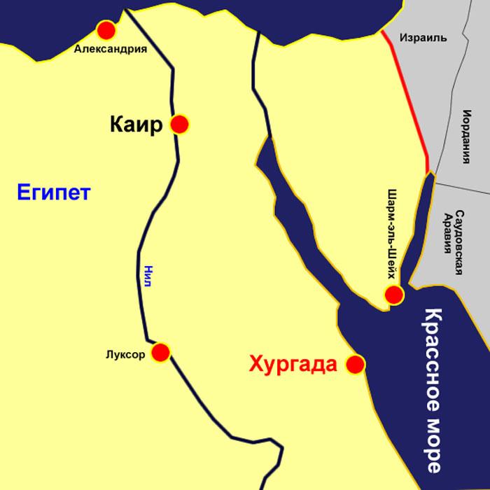 Хургада на карте Египта. Фото: Юрий Никольской/wikimedia.org