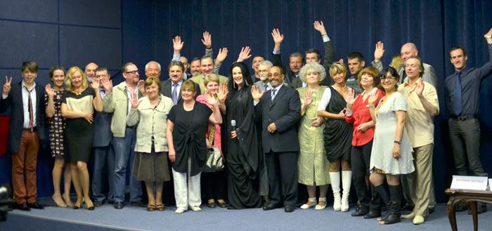 Участники пресс-конференции «Счастье не имеет национальности». Фото предоставлено Радмиром Хуснутдиновым