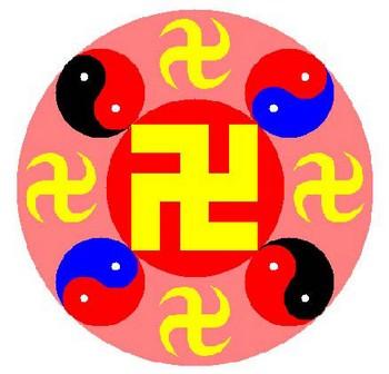 Изображение Фалунь, являющееся символом духовного движения Фалунь Дафа (Фалуньгун) и состоящее из свастик и символов Тайцзы