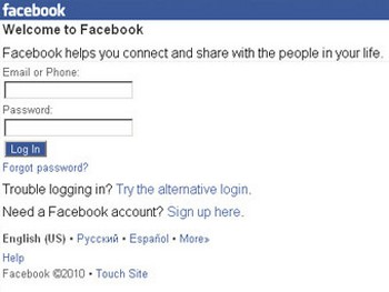 Скриншот мобильной версии сайта facebook.com