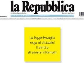 Пустая передовица La Repubblica