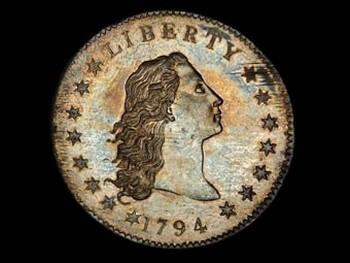 Монета достоинством в один доллар, отчеканенная в 1794 году, была продана на аукционе в Бостоне за 1 миллион 207 тысяч и 500 долларов. Фото Bowers and Merena Auctions