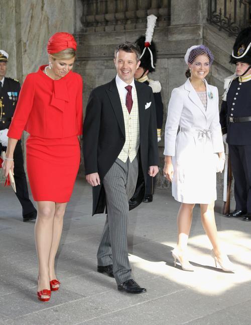 Крестины шведской принцессы Эстель. Принцесса Максима из  Нидерландов, принц Дании Фредерик и принцесса Мадлен из Швеции. Фоторепортаж. Фото: Chris Jackson/Getty Images
