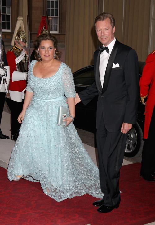 Монархи на приёме в Букингемском дворце по случаю юбилея правления королевы Елизаветы II. Великие герцог и герцогиня Люксембурга. Фоторепортаж. Фото: Sean Dempsey - WPA Pool/Getty Images