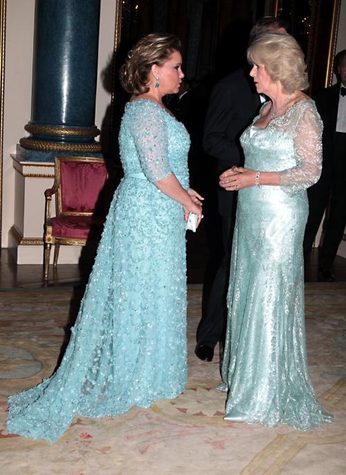 Монархи на приёме в Букингемском дворце по случаю юбилея правления королевы Елизаветы II. Великая герцогиня Люксембурга и Камилла. Фоторепортаж. Фото: Sean Dempsey - WPA Pool/Getty Images