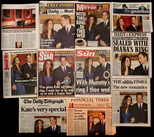Весть о предстоящей свадьбе принца Уильяма с Кейт Миддлтон обсуждает не только  вся Британия, это сегодня новость номер один во всем мире. Фото: Oli Scarff/Getty Images