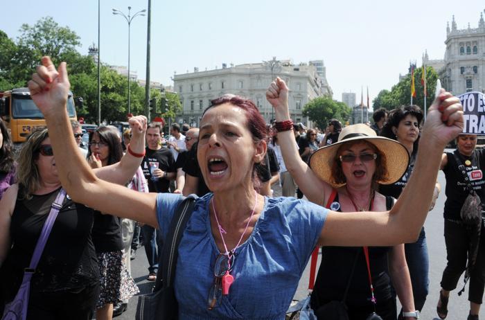 Безработные в Испании протестуют против снижения пособия по безработице. Фото: DOMINIQUE FAGET/AFP/GettyImages