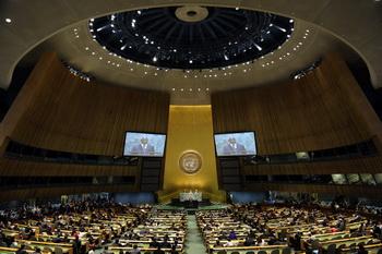 Специальный посланник Кофи Аннан докладывает о положении в Сирии на 66-й сессии генеральной ассамблеи ООН 7 июня 2012. Фото: TIMOTHY A. CLARY/AFP/GettyImages
