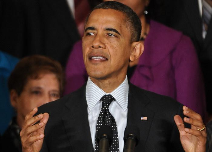 Президент США Барак Обама говорит о вопросах экономики в Восточном зале Белого дома в Вашингтоне, округ Колумбия, 9 ноября 2012 года. Фото: NICHOLAS KAMM/AFP/Getty Images