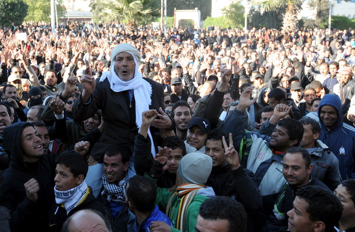 Марш протеста против нищеты и безработицы прошёл на севере Туниса. Фото: FETHI BELAID/AFP/GettyImages