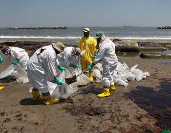 Очистка загрязненного нефтью побережья США. Фото: John Moore/Getty Images