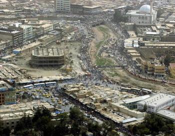 Кабул. Вид сверху на центр столицы Афганистана. Фото: Emmanuel DUNAND/AFP/Getty Images