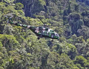 Вертолёт в джунглях. Фото: STR/AFP/Getty Images