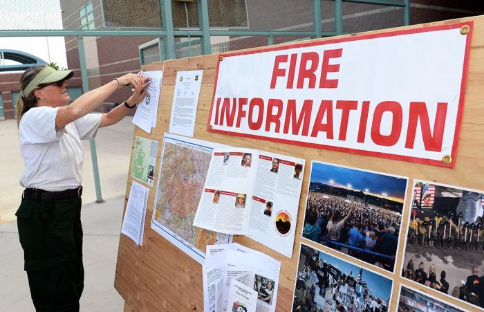 План действия в чрезвычайных условиях пожара вывесили в Лас-Вегасе 10 июля 2013 года. Фото: Ethan Miller/Getty Imagess