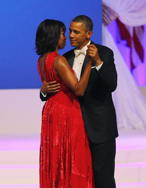 Президент США Барак Обама и первая леди Мишель Обама на инаугурационном балу в Вашингтоне, 22 января 2013 года. Фото: Joe Raedle / Getty Images