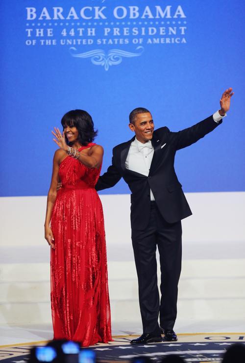 Президент США Барак Обама и первая леди Мишель Обама на инаугурационном балу в Вашингтоне, 22 января 2013 года. Фото: Alex Wong / Getty Image