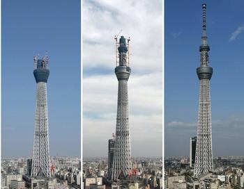 Телебашня «Небесное дерево» в Токио, Япония. Комбинированное изображение: 17 августа 2010 года, 1 декабря 2010 года и 16 мая 2012. Фото: YOSHIKAZU TSUNO/AFP/Getty Images