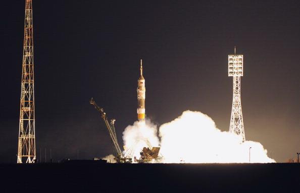 Космический корабль «Гагарин»  стартовал с  Байконура. Фото: ALEXANDER NEMENOV/AFP/Getty Images