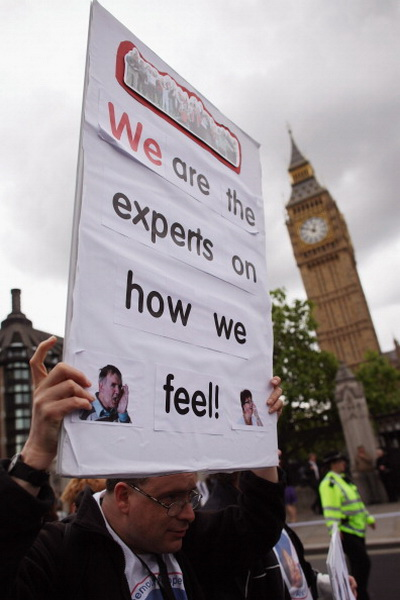 Фоторепортаж с акции протеста против сокращения пособий для инвалидов в Лондоне. Фото: Dan Kitwood/Getty Images