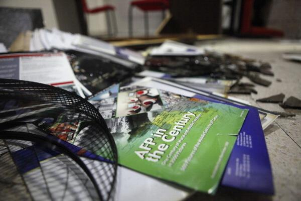 Фоторепортаж о нападении на офис информагентства Agence France Presse в Иордании. Фото: Salah Malkawi/ Getty Images