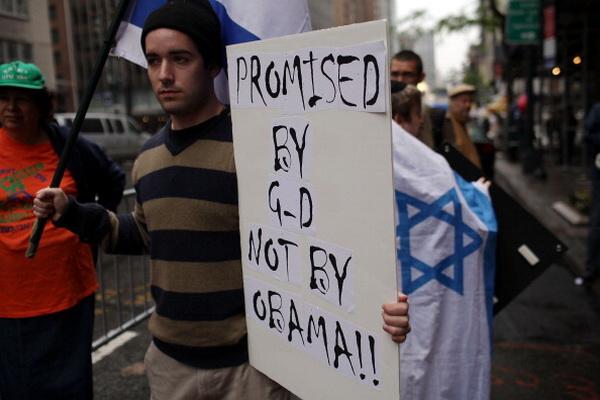 Фоторепортаж об акции протеста в Нью-Йорке против предложения Обамы вернуться к границам 1967 года. Фото: Spencer Platt/Getty Images